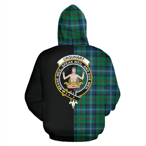 Urquhart Ancient Tartan Zip Up Hoodie Half Of Me - Black & Tartan
