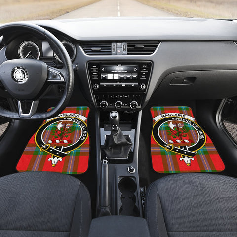 Car Floor Mats - Clan Maclaine Of Loch Buie Crest And Plaid Tartan Car Mats - 4 Pieces