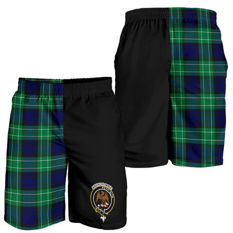 Image of Tartan Mens Shorts - Clan Abercrombie Crest & Plaid Shorts - Half Of Me Style