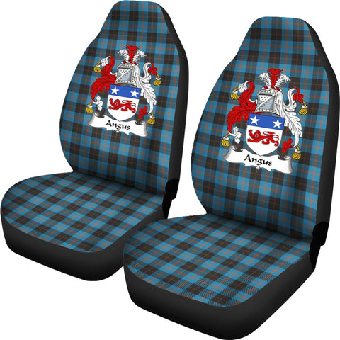 Angus Tartan Car Seat Covers Clan Badge