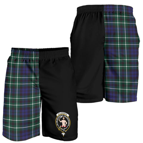 Tartan Mens Shorts - Clan Allardice Crest & Plaid Shorts - Half Of Me Style