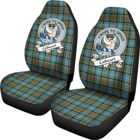 Cathcart Tartan Car Seat Covers Clan Badge