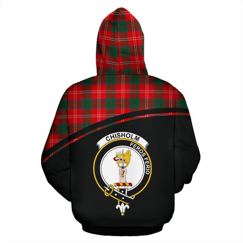 Chisholm Tartan Custom Personalised Hoodie - Curve Style Back