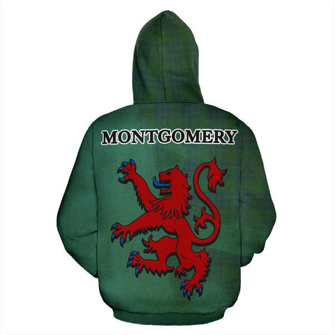 Tartan Hoodie - Clan Montgomery Ancient Crest & Plaid Hoodie - Scottish Lion & Map - Royal Style