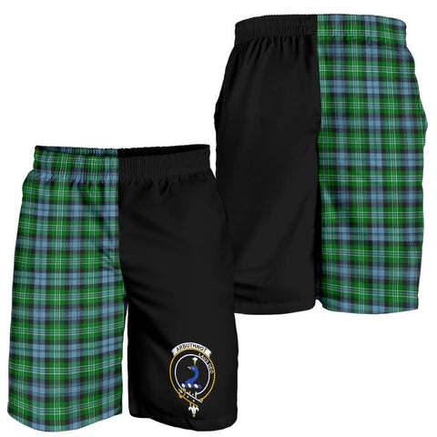 Tartan Mens Shorts - Clan Arbuthnott Crest & Plaid Shorts - Half Of Me Style