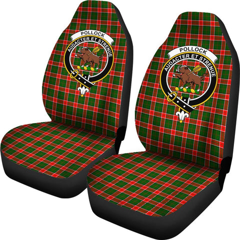 Image of Pollock Tartan Car Seat Covers - Clan Badge