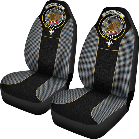 ScottishShop Seat Cover - Tartan Crest Gladstone (Or Gladstanes) Tartan Car Seat Cover Clan Badge - Special Version - Universal Fit