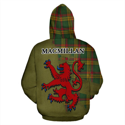 Tartan Hoodie - Clan MacMillan Old Ancient Crest & Plaid Hoodie - Scottish Lion & Map - Royal Style