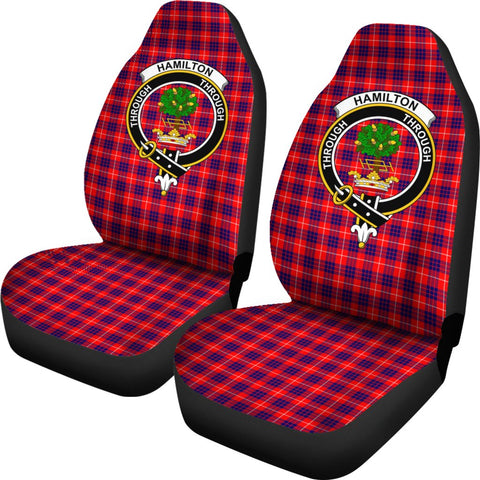 Hamilton Modern Tartan Car Seat Covers - Clan Badge