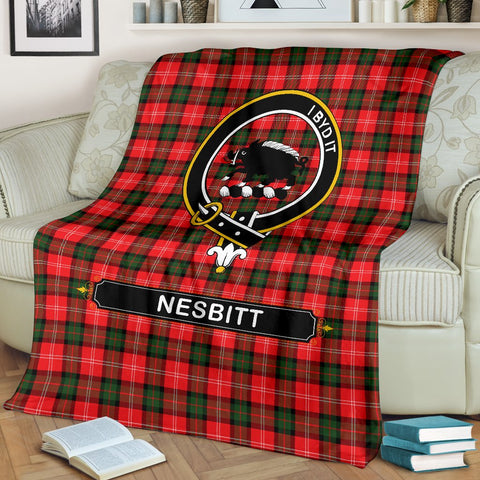 Nesbitt (or Nisbet) Crest Tartan Blanket | Tartan Home Decor | ScottishShop