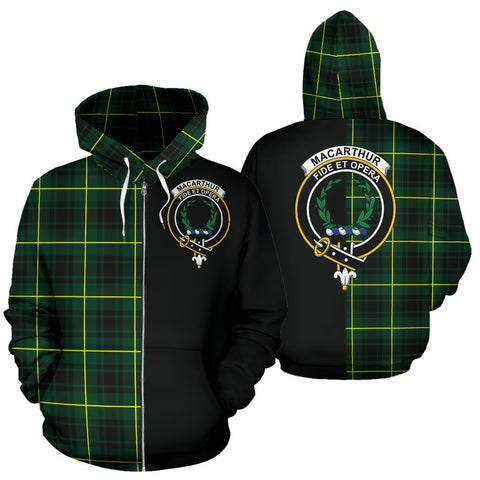 Image of MacArthur Modern Tartan Zip Up Hoodie Half Of Me - Black & Tartan