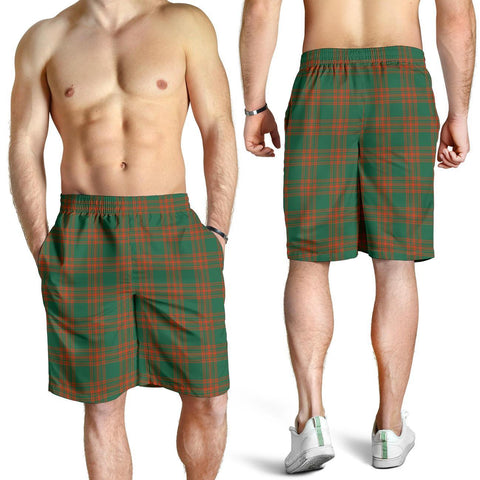 Tartan Mens Shorts - Clan Menzies Green Ancient Plaid Shorts