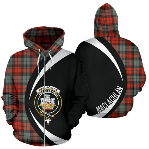ScottishShop Tartan Zip Up Hoodie - Clan Maclachlan Weathered Hoodie - Circle Style
