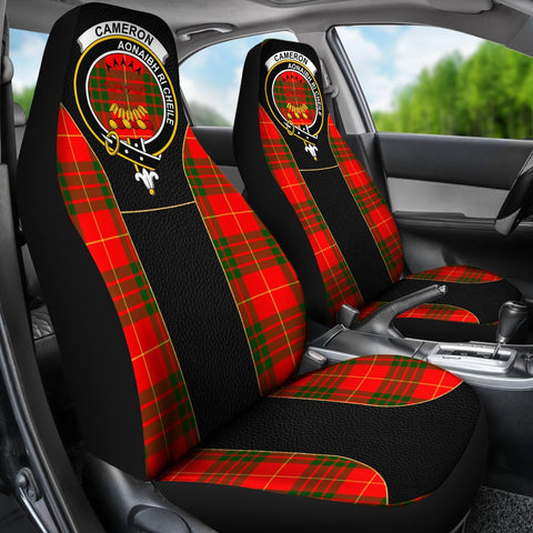 ScottishShop Seat Cover - Tartan Crest Cameron Tartan Car Seat Cover Clan Badge - Special Version - Universal Fit