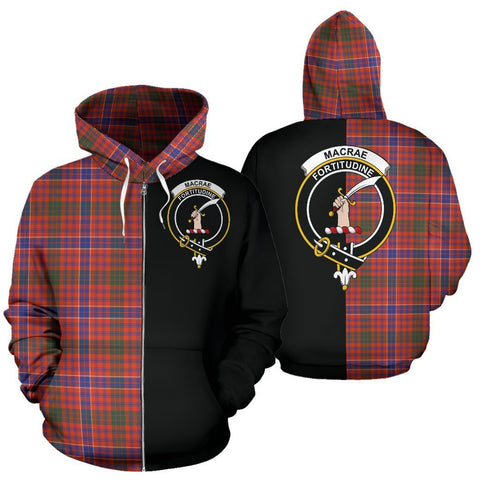 Custom Hoodie - Clan MacRae Ancient Plaid Tartan Zip Up Hoodie Design Your Own - Half Of Me Style - Unisex Sizing