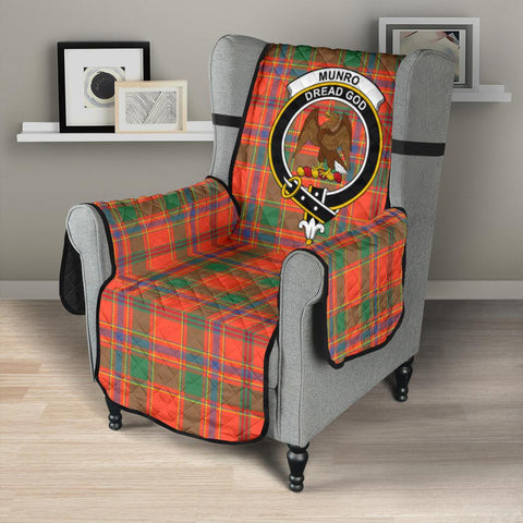 Image of Clan Munro Ancient Plaid & Crest Tartan Sofa Protector - 23 Inches