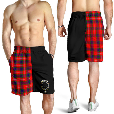Tartan Mens Shorts - Clan Abernethy Crest & Plaid Shorts - Half Of Me Style