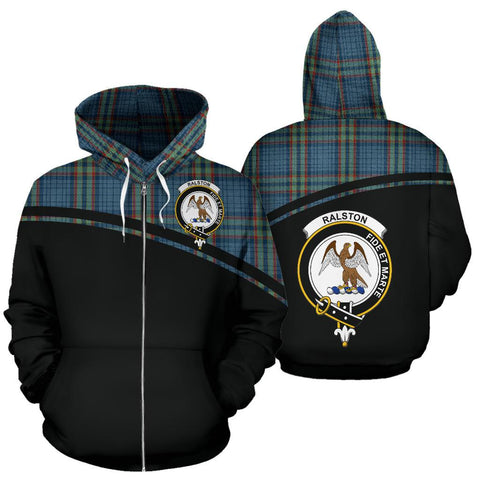 Custom Hoodie - Clan Ralston Plaid Tartan Zip Up Hoodie Design Your Own - Curve Style - Unisex Sizing