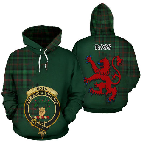 Tartan Hoodie - Clan Ross Hunting Modern Crest & Plaid Hoodie - Scottish Lion & Map - Royal Style