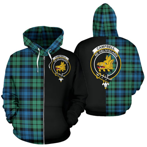 Image of Campbell Ancient 01 Tartan Zip Up Hoodie Half Of Me - Black & Tartan