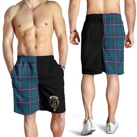 Tartan Mens Shorts - Clan Sandilands Crest & Plaid Shorts - Half Of Me Style