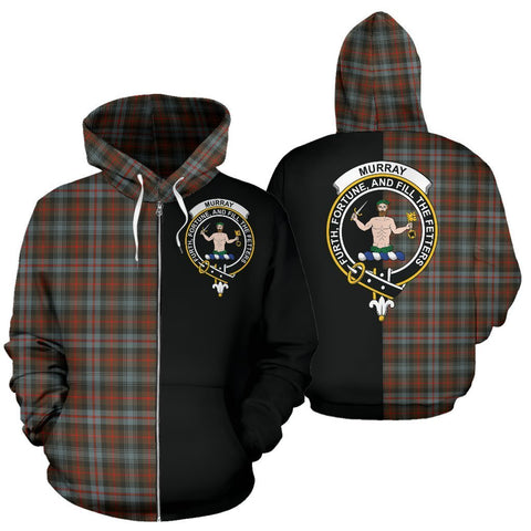 Image of Custom Hoodie - Clan Murray of Atholl Weathered Plaid Tartan Zip Up Hoodie Design Your Own - Half Of Me Style - Unisex Sizing