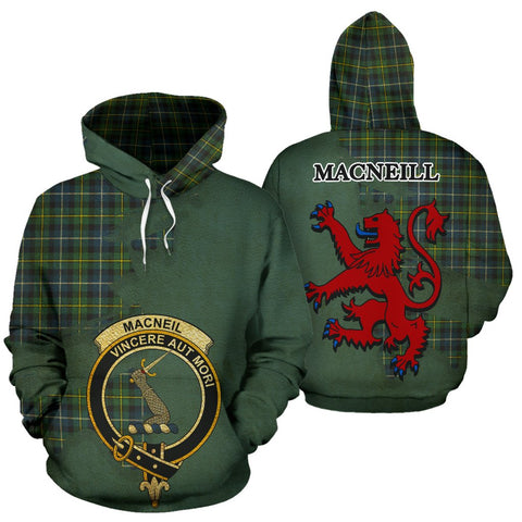 Tartan Hoodie - Clan MacNeill of Barra Ancient Crest & Plaid Hoodie - Scottish Lion & Map - Royal Style