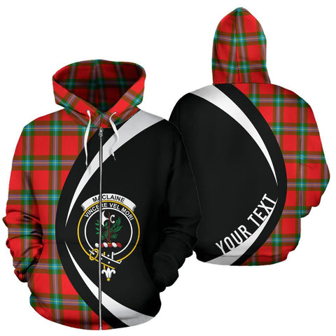 Custom Hoodie - Clan Maclaine Of Loch Buie Plaid Tartan Zip Up Hoodie Design Your Own - Circle Style - Unisex Sizing