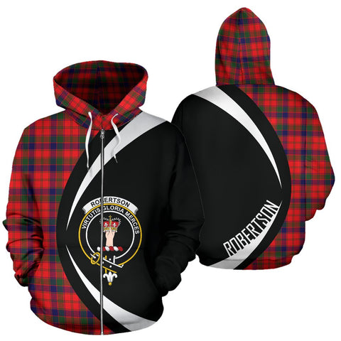 Image of ScottishShop Tartan Zip Up Hoodie - Clan Robertson Modern Hoodie - Circle Style
