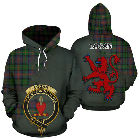 Tartan Hoodie - Clan Logan Ancient Crest & Plaid Hoodie - Scottish Lion & Map - Royal Style
