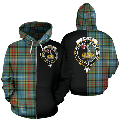 Custom Hoodie - Clan Paisley District Plaid Tartan Zip Up Hoodie Design Your Own - Half Of Me Style - Unisex Sizing