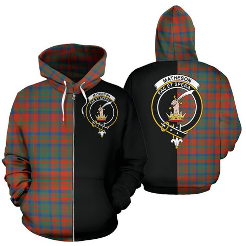 Custom Hoodie - Clan Matheson Ancient Plaid Tartan Zip Up Hoodie Design Your Own - Half Of Me Style - Unisex Sizing