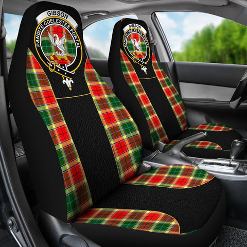 ScottishShop Seat Cover - Tartan Crest Gibson Tartan Car Seat Cover Clan Badge - Special Version - Universal Fit