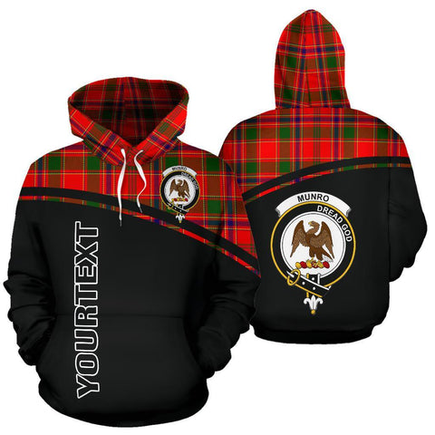 Custom Hoodie - Clan Tartan Munro Hoodie Make Your Own - Curve Style - Unisex Sizing