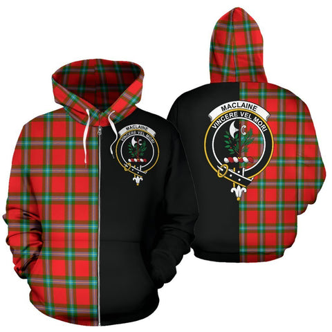 Custom Hoodie - Clan MacLaine of Loch Buie Plaid Tartan Zip Up Hoodie Design Your Own - Half Of Me Style - Unisex Sizing