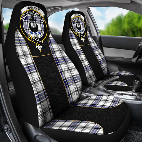 Seat Cover - Tartan Crest Hannay Tartan Car Seat Cover Clan Badge - Special Version - Universal Fit