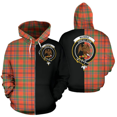 Custom Hoodie - Clan Munro Ancient Plaid Tartan Zip Up Hoodie Design Your Own - Half Of Me Style - Unisex Sizing
