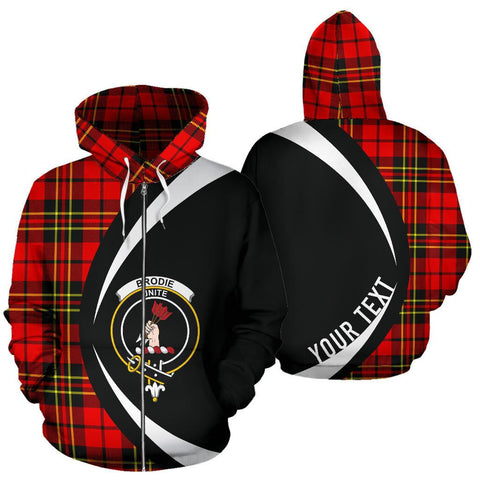 Custom Hoodie - Clan Brodie Modern Plaid Tartan Zip Up Hoodie Design Your Own - Circle Style - Unisex Sizing