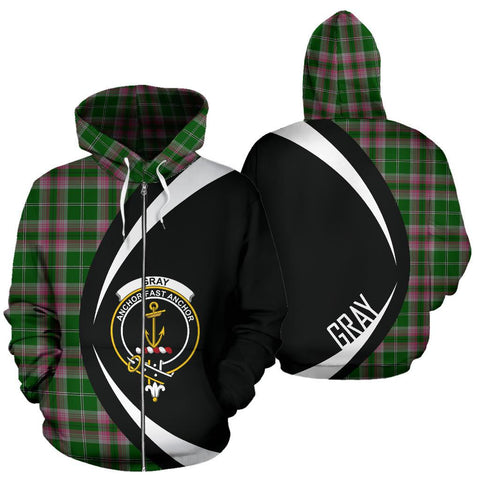 ScottishShop Tartan Zip Up Hoodie - Clan Gray Hunting Hoodie - Circle Style