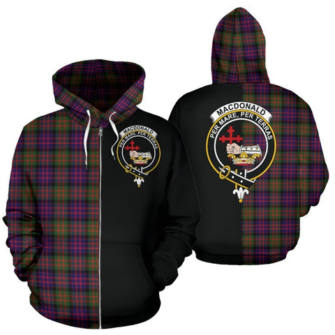 Image of Custom Hoodie - Clan MacDonald Modern Plaid Tartan Zip Up Hoodie Design Your Own - Half Of Me Style - Unisex Sizing