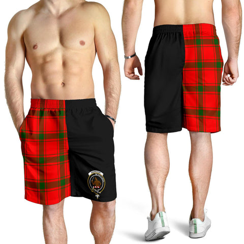 Tartan Mens Shorts - Clan Darroch Crest & Plaid Shorts - Half Of Me Style