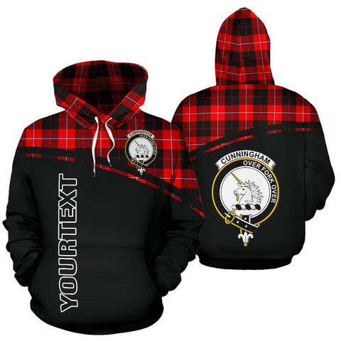Custom Hoodie - Clan Tartan Cunningham Hoodie Make Your Own - Curve Style - Unisex Sizing
