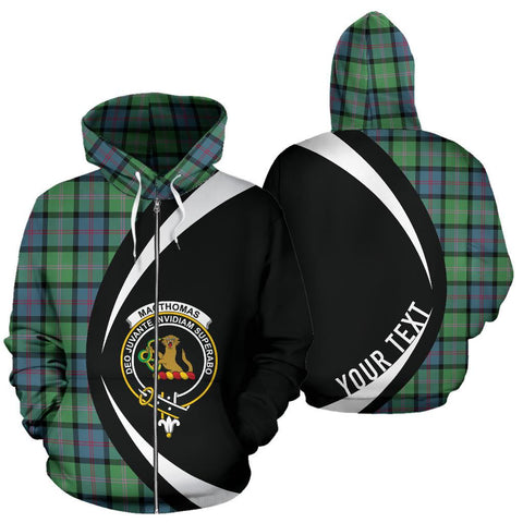 Custom Hoodie - Clan Macthomas Ancient Plaid Tartan Zip Up Hoodie Design Your Own - Circle Style - Unisex Sizing