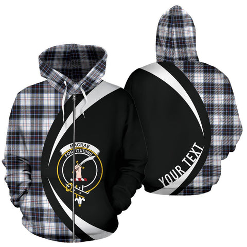 Custom Hoodie - Clan Macrae Dress Modern Plaid Tartan Zip Up Hoodie Design Your Own - Circle Style - Unisex Sizing