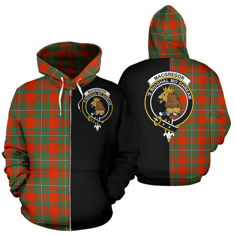 Image of MacGregor Ancient Tartan Zip Up Hoodie Half Of Me - Black & Tartan