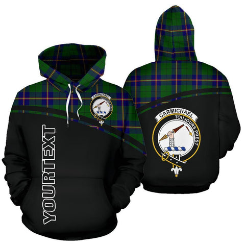 Custom Hoodie - Clan Tartan Carmichael Hoodie Make Your Own - Curve Style - Unisex Sizing