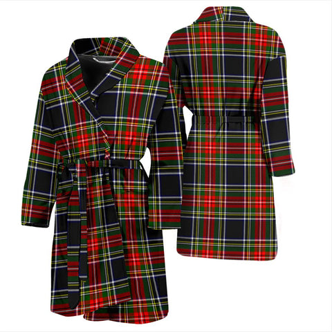 Image of ScottishShop Stewart Black Bathrobe | Men Tartan Plaid Bathrobe