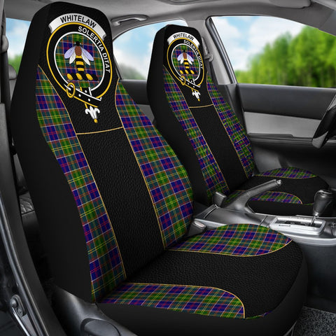 ScottishShop Seat Cover - Tartan Crest Whitelaw Tartan Car Seat Cover Clan Badge - Special Version - Universal Fit