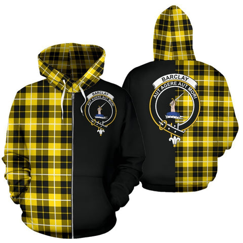 Custom Hoodie - Clan Barclay Dress Modern Plaid Tartan Zip Up Hoodie Design Your Own - Half Of Me Style - Unisex Sizing