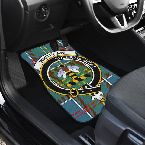 Car Floor Mats - Clan Whitelaw District Crest And Plaid Tartan Car Mats - 4 Pieces